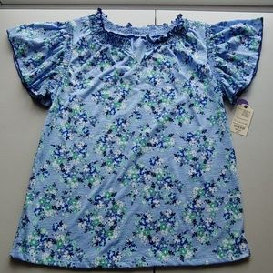NWT!!! Pretty Blue Floral St. John's Bay Top!!!
